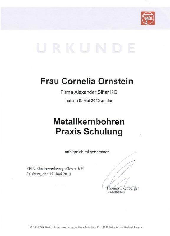Urkunde - Metallkernbohrung
