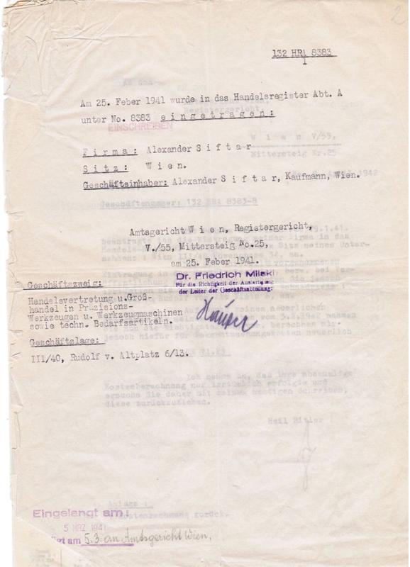 Handelsregisterauszug 1941
